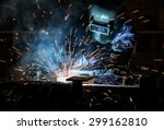 worker with protective mask... | Shutterstock . vector #299162810