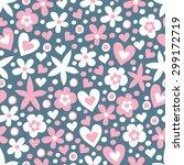 flower   heart seamless... | Shutterstock .eps vector #299172719