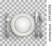 empty plate with spoon  knife... | Shutterstock .eps vector #299185298