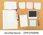 notes pinned on cork board ... | Shutterstock . vector #299194898