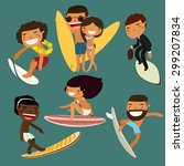 Surfing Character Set. Cute...