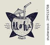 aloha surfing lettering. vector ... | Shutterstock .eps vector #299213708
