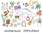 set of hand drawn cuba icons ... | Shutterstock .eps vector #299219663