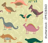 seamless pattern with set funny ... | Shutterstock .eps vector #299228363