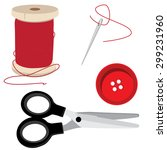 tailor icon set  red thread... | Shutterstock .eps vector #299231960