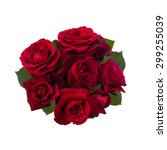 Stock photo bouquet of red roses isolated on white background 299255039