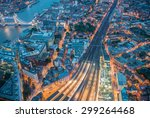 night aerial view of london... | Shutterstock . vector #299264468