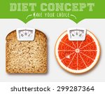 diet concept. food with scale... | Shutterstock .eps vector #299287364
