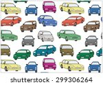 seamless pattern. colored cars... | Shutterstock .eps vector #299306264