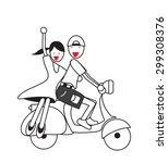 men and women ride motorcycles... | Shutterstock .eps vector #299308376