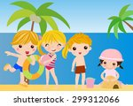 children playing on beach | Shutterstock .eps vector #299312066