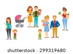 characters of people with kids | Shutterstock .eps vector #299319680