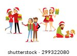 people and christmas season | Shutterstock .eps vector #299322080