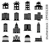 buildings icons set illustration   Shutterstock .eps vector #299331308