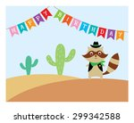 cute raccoon cowboy in desert...   Shutterstock .eps vector #299342588