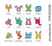 cartoon horoscope symbols ...   Shutterstock .eps vector #299344208