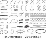 hand drawn elements isolated on ... | Shutterstock .eps vector #299345684