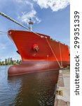The Huge Red Ship Moored In The ...