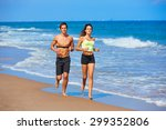 couple young running in the... | Shutterstock . vector #299352806