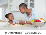 mother and daughter making a... | Shutterstock . vector #299368190