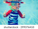 cute happy little boy swimming... | Shutterstock . vector #299376410