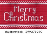 merry christmas text on red... | Shutterstock .eps vector #299379290