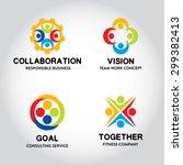 17 set of team work badge label ... | Shutterstock .eps vector #299382413