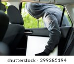 car theft   a laptop being... | Shutterstock . vector #299385194