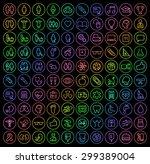 set of 100 universal minimal... | Shutterstock .eps vector #299389004