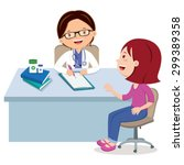 female doctor consultation.... | Shutterstock .eps vector #299389358