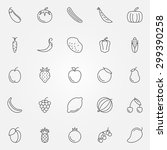 fruits and vegetables icons set ...