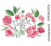 collection of vector floral... | Shutterstock .eps vector #299391374