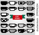 cup icons in black and white ...