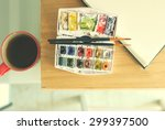 photo of  brushes on watercolors | Shutterstock . vector #299397500