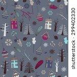 vintage christmas pattern.... | Shutterstock .eps vector #299402330