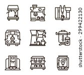 set of black line vector icons...