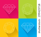 flat icons set with gemstones.... | Shutterstock .eps vector #299425718