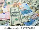 Many Dollar And Euro  Close Up