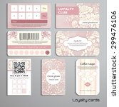 set of loyalty cards. bouquet... | Shutterstock .eps vector #299476106