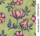 vector flowers seamless pattern | Shutterstock .eps vector #299476676