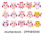 Stock vector cute girl owls vector set baby showers parties for baby girls 299485040