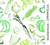 hand drawn vegetables set on a... | Shutterstock .eps vector #299495114