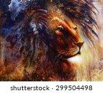 lion face profile portrait  on... | Shutterstock . vector #299504498