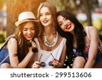 three beautiful young girls... | Shutterstock . vector #299513606