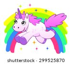running cartoon unicorn against ... | Shutterstock .eps vector #299525870