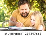 father with daughter in the... | Shutterstock . vector #299547668