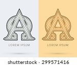 alpha and omega  luxury font ... | Shutterstock .eps vector #299571416