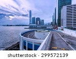 park lot and modern skyline at... | Shutterstock . vector #299572139