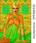 egyptian princess in orange... | Shutterstock . vector #299586533