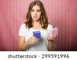 beautiful disappointed girl... | Shutterstock . vector #299591996